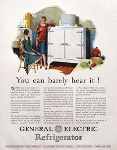 1920s General Electric Refrigerator ad (from #RetroReveries)