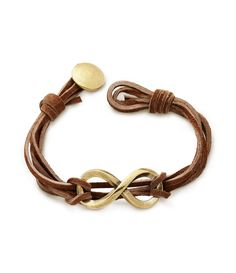 Say forever and always with our distinctive Bronze Infinity Leather Knot Bracelet. Ideal for him or her, the bronze infinity focal piece is accentuated by five strands of soft, hand-knotted brown leather, and secured with a bronze button clasp. Copper Jewelry, Leather Jewelry, Wire Jewelry, Boho Jewelry, Beaded Jewelry, Beaded Bracelets, Avery Jewelry, Leather Bracelets, Jewelry Ideas