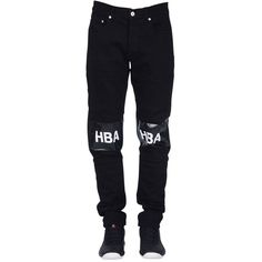 HBA Hood by Air Jeans ($285) ❤ liked on Polyvore featuring men's fashion, men's clothing, men's jeans and black multi