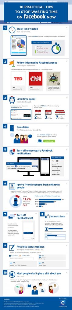 10 Practical Tips To Stop Wasting Time on Facebook Now #infographic