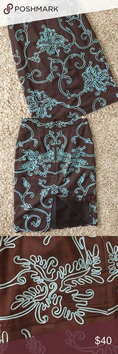 Beth Bowley Pencil Skirt Gorgeous!! Gorgeous Beth Bowley Pencil Skirt. Size 4. Brown and Teal. Lined. Zipper in back. Preowned in great condition with no known tears snags or stains. Comes from smoke free and clean home!! Remember to save when you bundle. Thanks Beth Bowley Skirts Pencil