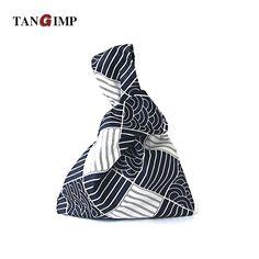 ce36daccc5ba TANGIMP 2017 Stripes Cotton Wristlets Bags Japanese Style Handbags Tote  Simple Coin Purse for Gift Original