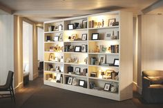 Haley Cloyd look what I found. // this shelf wall rotates in the late afternoon to reveal a hidden lounge and bar, how cool is that? Display Shelves, Wall Shelves, Shelving, Bookcase Door, Bookshelves, Edition Hotel, Panic Rooms, Furniture Board, Shelves In Bedroom