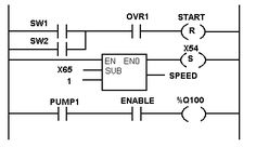 Ladder logic example with toggle or flip-flop function