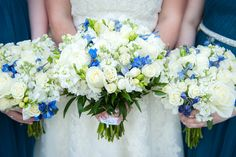 Blue and White Bouquets at a Summer Wedding at Belmont Country Club in Ashburn VA | Kelly Ewell Photography