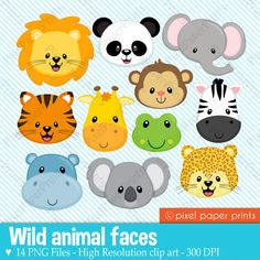 Animal Faces Clipart Clip Art, Zoo Jungle Farm Barnyard Forest Woodland Animal Clipart Clip Art – Commercial and Personal Use – Melissa Campos - Baby Animals Jungle Party, Safari Party, Jungle Theme, Jungle Animals, Baby Animals, Wild Animals, 2 Baby, Baby Art, Clip Art