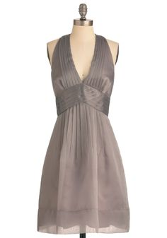 Pewter or Later Dress by Max and Cleo - Long, Grey, Solid, Cutout, Pleats, Empire, Halter, Wedding, Party, Vintage Inspired, Prom - it may be a little formal, but I loved the halter cut, and color so I bought this and will ask my husband to take me out dancing.
