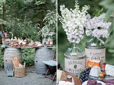 Rustic French buffet with fruits and cheeses on top of wine barrels. See more French inspired #wedding decor here: http://www.mywedding.com/articles/french-wedding-decor-details/