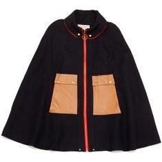Lauren Moffat Wool & Leather Cape