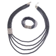 Simulated Graphite Pearl, Austrian Crystal Silvertone Bracelet (Stretchable) and Necklace