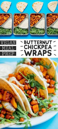 This Butternut Bowl Meal Prep recipe is packed with spiced roasted chickpeas and butternut, drizzled with lemony hummus sauce, and is totally vegan! It's a vegan lunch idea perfect for healthy meal planning that is full of flavor (and veggies) to keep you Vegetarian Meal Prep, Lunch Meal Prep, Healthy Meal Prep, Vegetarian Recipes, Healthy Recipes, Vegetarian Italian, Chickpea Recipes, Easy Recipes, Vegan Dinner Recipes