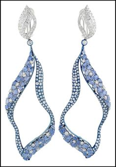Miiori blue sapphire (just over 14cts) and diamond (11.69cts tw) earrings set in titanium and 18k white gold. Via Diamonds in the Library. b...