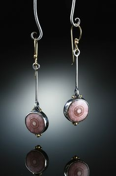 AMY BUETTNER & TUCKER GLASOW - Rhodochrosite Stalactite Slice Earrings. Sterling Silver, 14k 18k. Gold