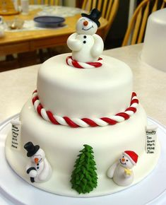 Snowman Christmas Cake - Here's the cake I made with the snowmen I posted a little earlier. I added the top snowman - he's made of fondant. All of the other decorations are gum paste.  I watched aine2's videos on how to make the snowmen and trees!