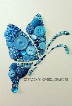 Button Art Butterfly button & Swarovski Crystal Rhinestone Butterfly Art Blue Butterfly Button Butterfly Wall Art Crystals