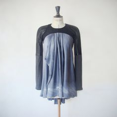 Sheer silk tunic, dyed, painted with spray and brush, appropriate for pregnant women, handmade item  $130.00