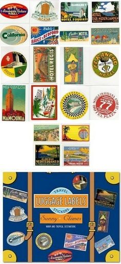 Warm weather destinations are always a favorite. Included in this attractive box of Sunny Climates Luggage Labels is an international collection of one each of 20 various stickers reproduced from vintage luggage labels.
