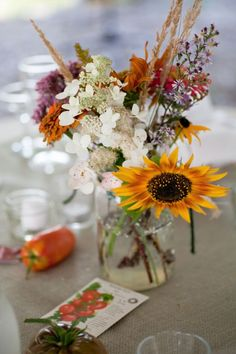 Wildflower centerpieces with veggies and seeds!