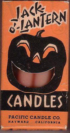 Vintage Jack O' Lantern Candles (Pacific Candle Company, Hayward, California)