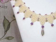 Lace Beadwork Necklace with fluorite pendant 511 by Zeesi on Etsy, $65.00
