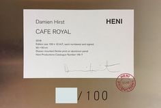 Damien Hirst 'Cafe Royal i signed and numbered edition for sale at ARTEDIO. Buy Damien Hirst artworks and prints easily and safely online now. Art Eras, Damien Hirst, Artist Signatures, Artist Life, Limited Edition Prints, Giclee Print, Contemporary Art, How To Find Out, Sculptures