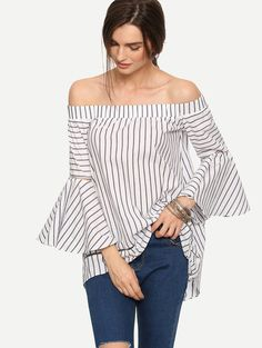 Online shopping for Multicolor Striped Off The Shoulder Bell Sleeve Blouse from a great selection of women's fashion clothing & more at MakeMeChic.COM.