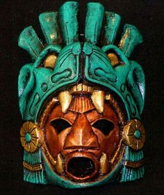 Large Aztec Warrior Mask Stone Jaguar Calendar Mayan Mexican Art Maya interesting way of interrupting the jaguar into the mask. framing the face. Ancient Aztecs, Ancient Art, Maya Art, Mayan Mask, Aztec Mask, Arte Latina, Cultures Du Monde, Aztec Culture, Aztec Calendar