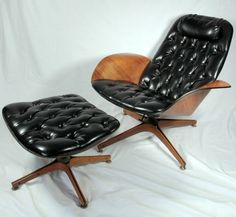 Vintage Mid-Century high back lounge chair and ottoman designed by George   Mulhauser for Plycraft