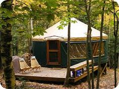 forest yurt via river yurt via My husband and I stay in the yurts in the Oregon State Parks on the Oregon Coast pretty often. Yurt Camping, Outdoor Camping, Outdoor Fun, Outdoor Spaces, Outdoor Decor, Yurt Living, Outdoor Living, Bungalows, Cabana