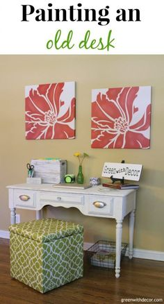 This is a great tutorial for painting an old desk with clay paint! Smart, cheap idea instead of buying everything new for a home office. | Green With Decor