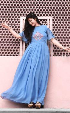Buy Indian Designer Cape style suits and dresses Indian Dresses, Indian Outfits, Blue Dresses, Maxi Dresses, Kalamkari Dresses, Embroidered Kurti, Indian Designer Wear, Dresses Online, Beautiful Dresses