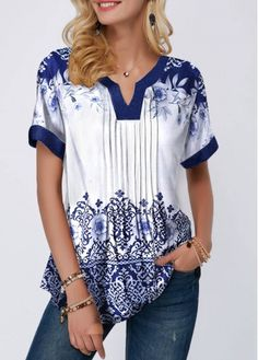 Retro Print Split Neck Pleated Blouse | modlily.com - USD $28.54