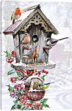 A Festive Feast - Vogelhäuschen im Schnee - Puzzle 1000 Teile Christmas Artwork, Christmas Bird, Christmas Scenes, Christmas Paintings, Christmas Animals, Christmas Wallpaper, Christmas Pictures, Vintage Christmas, Xmas