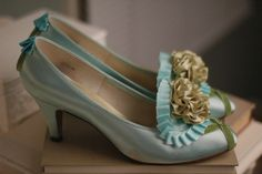 Marie Antoinette Shoes/Green Aqua
