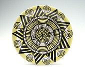 Bohemian Mandala Plate / Platter with Graphic Line Designs Lime Green Black White Dinnerware