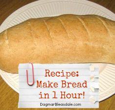 bake yummy bread in 1 hour! Dagmar's Home DagmarBleasdale.com #baking #bread #recipe #bakingbread #frugal #homemaking