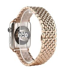 Apple Watch Band Yxim Solid Stainless Steel Metal Replacement 7 Pointers Watchband Bracelet with Double Button Folding Clasp Strap Bracelet for Apple Watch iWatch Series 1 Series 2 Gold 42mm -- You can get additional details at the image link.