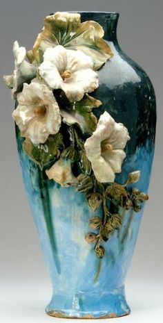 T.J. WHEATLEY Tall Albertine vase with hibiscus, 1882