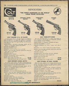 1957 COLT Trooper, Officer's Match, Three-Fifty-Seven (357), PYTHON Revolver AD