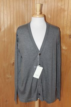 NWT Malo Solid Gray Cashmere Silk Blend Mens Cardigan Sweater size Large Italy #Malo #Cardigan