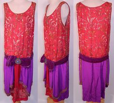 1920s red and purple silk embroidered dress