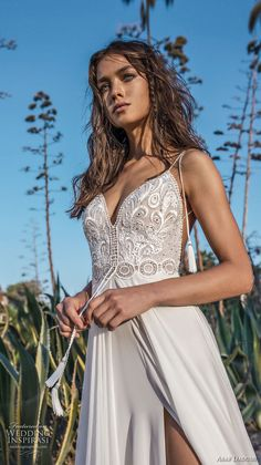 asaf dadush 2018 bridal spaghetti strap sweetheart neckline heavily embellished bodice side slit romantic wedding dress open back sweep train (12) zv