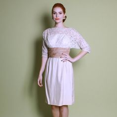 Early 60s Silk Lace Wedding DRESS Chic Ivory Wiggle Cut S