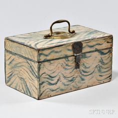 Small Paint-decorated Pine Box ~ Waves!