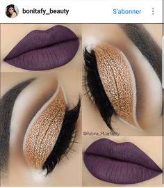 Gold eye makeup and purple lips Pretty Makeup, Love Makeup, Makeup Tips, Beauty Makeup, Makeup Looks, Hair Makeup, Makeup Ideas, Purple Eye Makeup, Purple Lips