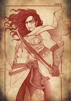 Greek God of War. Ares is the god of war, one of the Twelve Olympian gods and the son of Zeus and Hera. In literature Ares represents the violent and physical untamed aspect of war, which is in contrast to Athena who represents military strategy and generalship as the goddess of intelligence. Ares by DoroxDoro.deviantart.com on @deviantART