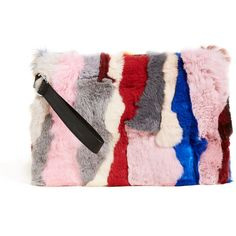 Jocelyn Rex Rabbit Fur Clutch (€145) ❤ liked on Polyvore featuring bags, handbags, clutches, light multi, multi color handbag, multi coloured handbags, pink purse, tri color handbags and multi colored purses
