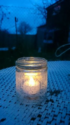 Shabby Chic Glass Jar Tea Light Holder wedding ideas