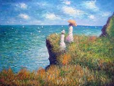claude monet cliff walk at pourville painting