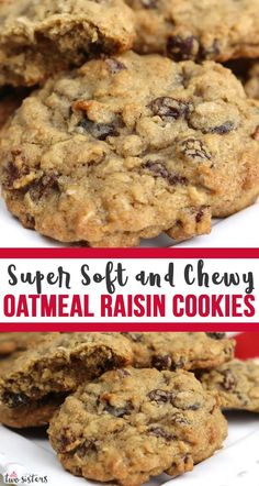 Soft and Chewy Oatmeal Raisin Cookies - a classic cookie recipe that makes a delicious, soft and chewy Homemade Oatmeal Cookie. This is a great oatmeal raisin cookie recipe that you'll find yourself going back to again and again.These easy to make cookies are the homemade cookies you've been looking for. Pin this delicious cookie recipe for later and follow us for more yummy cookie ideas. Soft Oatmeal Raisin Cookies, Homemade Oatmeal Cookies, Oatmeal Cookie Recipes, Soft Cookie Recipe, Flourless Oatmeal Cookies, Easy Homemade Cookie Recipes, Microwave Cookies, Cake, Recipes